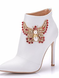 cheap -Women's PU(Polyurethane) Spring &  Fall Sweet Wedding Shoes Stiletto Heel Pointed Toe Booties / Ankle Boots Rhinestone / Bowknot White