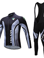 cheap -Men's Long Sleeve Cycling Jersey with Bib Tights Winter Fleece Polyester Black White Bike Clothing Suit Fleece Lining Breathable Warm Sports Yarn Dyed Mountain Bike MTB Road Bike Cycling Clothing