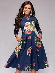 cheap -Women's Blue Dress Elegant Daily Birthday Sheath Geometric Solid Colored Pleated S M High Waist / Sexy