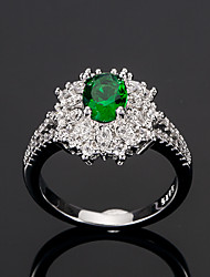 cheap -Women's Ring Cubic Zirconia tiny diamond 1pc Green Copper Circle European Trendy Romantic Wedding Date Jewelry Classic Halo Cute