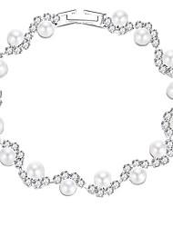 cheap -Women's Bracelet Tennis Chain Romantic Sweet Fashion Imitation Pearl Bracelet Jewelry Silver For Wedding Party / Rhinestone