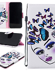 cheap -Case For Apple iPhone XS Max Wallet / Card Holder / Shockproof Full Body Cases Butterfly / Sexy Lady Hard PU Leather