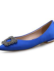 cheap -Women's Flats Flat Heel Pointed Toe Rhinestone Satin Sweet / Minimalism Spring & Summer Black / Light Pink / Royal Blue