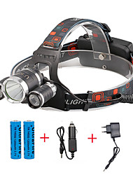 cheap -U'King Headlamps Headlight 2400 lm LED LED 3 Emitters 4 Mode with Batteries and Chargers Compact Size Easy Carrying Camping / Hiking / Caving Everyday Use Cycling / Bike / Aluminum Alloy
