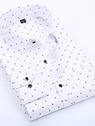 cheap -Men's Polka Dot Geometric Print Slim Shirt Business Basic Daily Work Spread Collar White / Blue / Blushing Pink / Spring / Fall / Long Sleeve