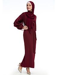 cheap -Adults' Women's Ethnic Arabian Dress Abaya Kaftan Dress For Halloween Daily Wear Festival Polyester / Cotton Blend Solid Colored Long Length Dress 1 Belt
