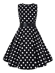 cheap -Audrey Hepburn Floral Style Vintage Vintage Inspired Hepburn Dress JSK / Jumper Skirt Girls' Kid's Costume Black & White Vintage Cosplay Party / Evening Family Gathering Festival Sleeveless Above