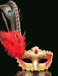 cheap -Feather Mask Venetian Mask Masquerade Mask Inspired by Venetian Golden yellow Red+Golden Sexy Halloween Carnival Masquerade Adults' Women's Female / Half Mask