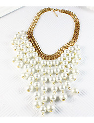 cheap -Women's Statement Necklace Tassel Hyperbole Elegant Imitation Pearl Alloy Gold 47 cm Necklace Jewelry 1pc For Wedding Party