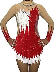 cheap -Rhythmic Gymnastics Leotards Artistic Gymnastics Leotards Women's Girls' Leotard Red Spandex High Elasticity Handmade Print Shading Long Sleeve Competition Ballet Dance Training