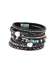 cheap -Women's Natural Stone Leather Bracelet Layered Sweet Heart Unique Design Bohemian Trendy PU Leather Bracelet Jewelry Beige / Gray / Blue For Daily Street
