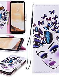 cheap -Case For Samsung Galaxy S8 Wallet / Card Holder / Shockproof Full Body Cases Butterfly / Sexy Lady Hard PU Leather