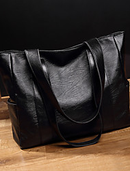 cheap -Women's Synthetic / PU Tote Solid Color Black / Black Grey / Red