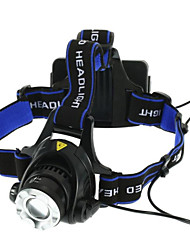 cheap -Headlamps Headlight Waterproof 1800 lm LED LED 1 Emitters 3 Mode Waterproof Zoomable Adjustable Focus Camping / Hiking / Caving Everyday Use Cycling / Bike Black Blue / Aluminum Alloy