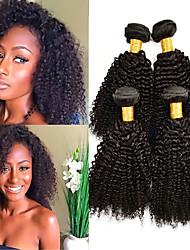cheap -4 Bundles Brazilian Hair Kinky Curly Virgin Human Hair Headpiece Natural Color Hair Weaves / Hair Bulk Hair Care 8-28inch Natural Color Human Hair Weaves Safety Best Quality New Arrival Human Hair