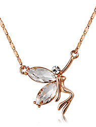 cheap -Women's Clear Crystal Pendant Necklace Figaro Angel Classic Fashion Elegant Chrome Rose Gold Plated Imitation Diamond Rose Gold 43 cm Necklace Jewelry 1pc For Daily Formal
