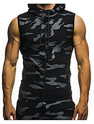 cheap -Men's Sleeveless Hoodie - Solid Colored Hooded Light gray M