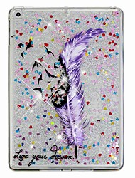 cheap -Case For Apple iPad Air / iPad (2018) / iPad Air 2 Shockproof / Flowing Liquid / Pattern Back Cover Feathers / Glitter Shine Hard PC / iPad (2017)
