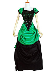cheap -Classic Lolita Victorian Dress Women's Girls' Satin Party Prom Japanese Cosplay Costumes Plus Size Customized Black Ball Gown Color Block Short Sleeve Long Length