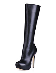 cheap -Women's Boots Knee High Boots Stiletto Heel Round Toe Synthetics Knee High Boots Classic / Minimalism Fall & Winter Black / Beige / Party & Evening