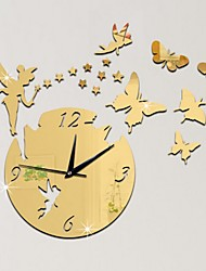 cheap -Modern Style Plastic & Metal Irregular Indoor AA Batteries Powered Decoration Wall Clock Mirror Polished No