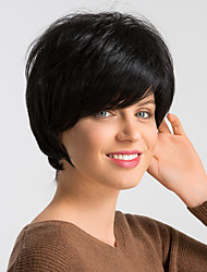 cheap -Human Hair Wig Short Natural Straight Pixie Cut Red Black Blonde Fashionable Design Easy dressing Comfortable Capless Women's Dark Wine Beige Blonde / Bleached Blonde Jet Black 8 inch