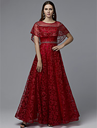 cheap -A-Line Elegant & Luxurious Minimalist Prom Dress Jewel Neck Short Sleeve Floor Length Lace Tulle with Beading 2020