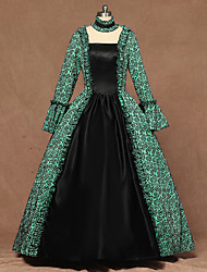 cheap -Queen Queen Elizabeth Vintage Rococo Victorian 18th Century Dress Women's Costume Green Vintage Cosplay Party Stage Long Sleeve Floor Length Ball Gown Plus Size