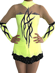 cheap -Rhythmic Gymnastics Leotards Artistic Gymnastics Leotards Women's Girls' Leotard Yellow Spandex High Elasticity Handmade Print Jeweled Long Sleeve Competition Ballet Dance Ice Skating Rhythmic