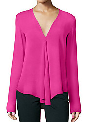 cheap -Women's Daily Basic Plus Size Blouse - Solid Colored Dusty Rose, Chiffon / Fashion V Neck Black / Spring / Summer / Fall / Winter