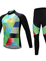 cheap -Men's Long Sleeve Cycling Jersey with Tights Winter Fleece Polyester Black / Green Bike Clothing Suit Fleece Lining Breathable Warm Sports Yarn Dyed Mountain Bike MTB Road Bike Cycling Clothing