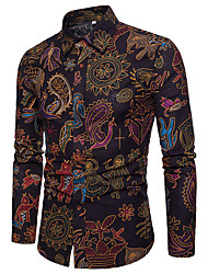 cheap -Men's Vintage Linen Shirt - Paisley / Tribal Print Spread Collar Black / Long Sleeve