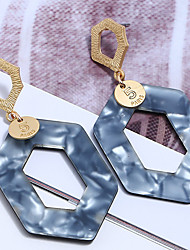 cheap -Women's Drop Earrings Geometrical Stylish Simple Resin Gold Plated Earrings Jewelry Gray / Coffee / Royal Blue For Party Street Holiday 1 Pair