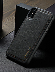cheap -Case For Apple iPhone XS Max Waterproof / Shockproof / DIY Back Cover Solid Colored Hard PU Leather