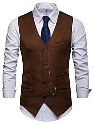 cheap -Men's Work Business Fall / Winter Regular Vest, Solid Colored V Neck Sleeveless Acrylic / Polyester White / Black / Wine / Slim
