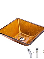 cheap -Bathroom Sink / Bathroom Faucet / Bathroom Mounting Ring Antique - Tempered Glass Square Vessel Sink