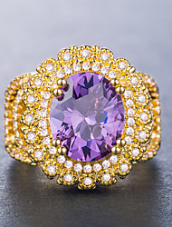 cheap -Women's Ring Cubic Zirconia 1pc Purple Yellow Gold-Wine Copper Silver-Plated Geometric Luxury Unique Design western style Wedding Party Jewelry Classic Oval Cut Halo Flower Cool Lovely