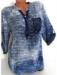 cheap -Women's Daily Plus Size Shirt - Geometric Fashion / Print Shirt Collar Green / Spring / Summer / Fall / Winter