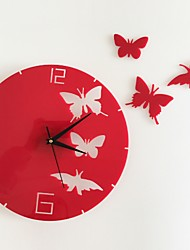 cheap -Modern Style Plastic & Metal Round Indoor / Outdoor AA Batteries Powered Decoration Wall Clock Mirror Polished No