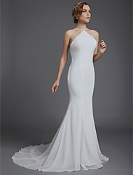 cheap -Mermaid / Trumpet Wedding Dresses Spaghetti Strap Court Train Chiffon Over Satin Sleeveless Beautiful Back with 2021