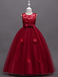 cheap -A-Line Floor Length Flower Girl Dress - Polyester / Polyester / Cotton Sleeveless Jewel Neck with Embroidery / Lace / Butterfly