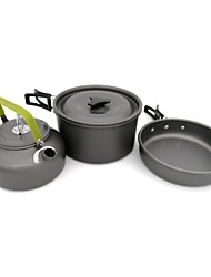 cheap -ARDI® Camping Cookware Mess Kit Camping Kettle Camping Pot Dinnerware Set Pot Rack & Accessories Utensils Lightweight Stainless steel Aluminium Alloy for 2 - 3 person Outdoor Hiking Camping Black
