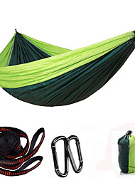cheap -Camping Hammock Outdoor Quick Dry Ultra Light (UL) Breathability Wearable Parachute Nylon with Carabiners and Tree Straps for 3 Fishing Camping Black Blue Red 300*200 cm