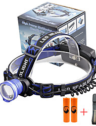 cheap -U'King Headlamps Headlight 2000 lm LED LED Emitters 3 Mode with Batteries and Charger Zoomable Alarm Adjustable Focus Compact Size High Power Easy Carrying Camping / Hiking / Caving Everyday Use