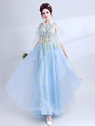 cheap -Cinderella Dress Women's Movie Cosplay Embroidery Open Back Blue Dress Halloween Carnival Masquerade Organza Embroidery