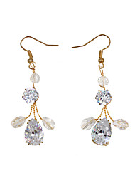 cheap -Women's Drop Earrings Pear Cut Unique Design Imitation Diamond Earrings Jewelry Gold For Wedding Party Festival 1 Pair