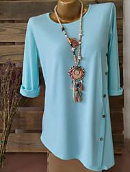 cheap -Women's Daily Plus Size Blouse - Geometric / Color Block Fashion / Button Black / Spring / Summer / Fall