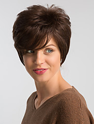 cheap -Human Hair Wig Short Natural Straight Pixie Cut Red Blonde Brown Fashionable Design Easy dressing Comfortable Capless Women's Brown Dark Wine Beige Blonde / Bleached Blonde 8 inch / Natural Hairline