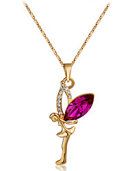 cheap -Women's Red Crystal Pendant Necklace Figaro Angel Romantic Sweet Fashion Chrome Rose Gold Plated Imitation Diamond Rose Gold 44 cm Necklace Jewelry 1pc For Daily Formal
