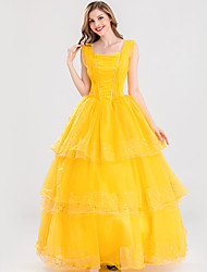 cheap -Belle Cosplay Costume Adults' Women's Dresses Christmas Halloween Carnival Festival / Holiday Tulle Silk / Cotton Blend Yellow Carnival Costumes Princess